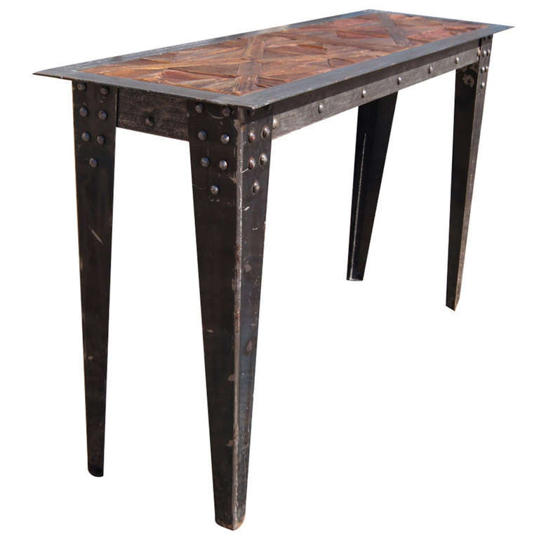 Vintage heavy industrial steel wood console table at 1stdibs for Metal and wood console tables