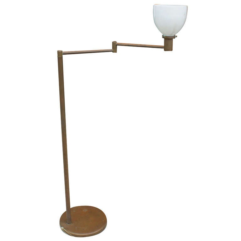 Vintage Walter Von Nessen Bronze Floor Lamp Swing Arm At