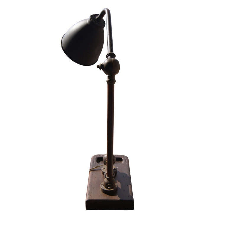 Vintage Marine England Brass Copper Table Lamp 1930 2