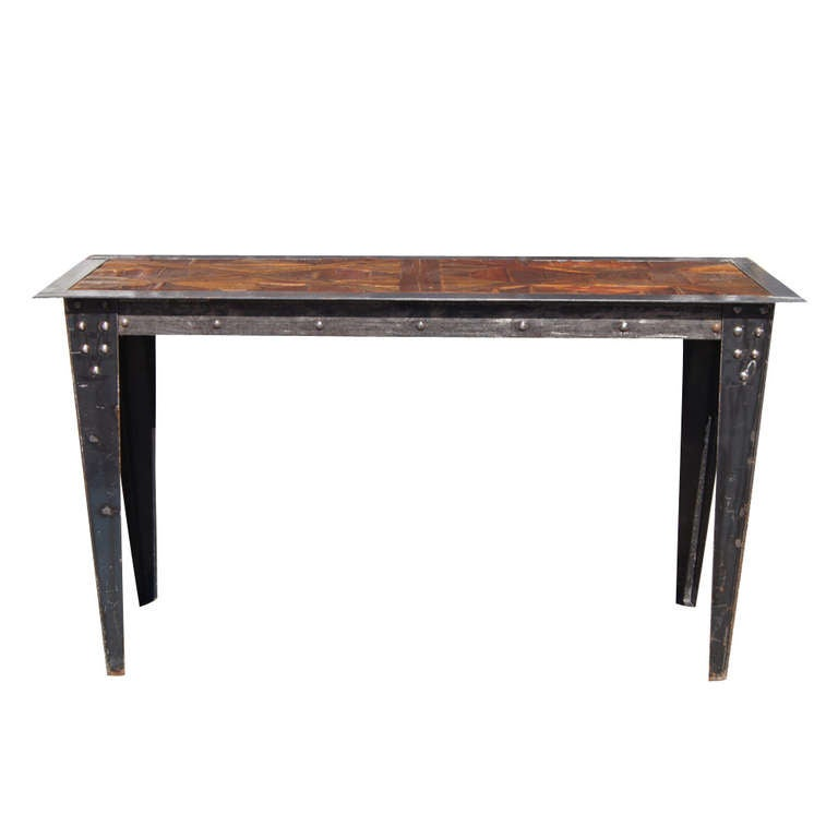 Vintage Heavy Industrial Steel Wood Console Table For Sale