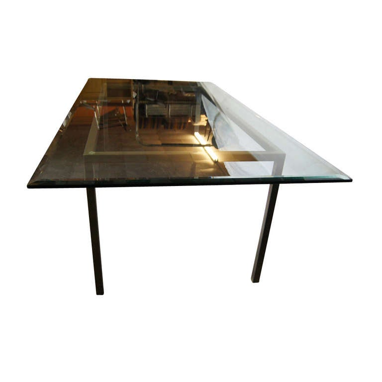 8 ft industrial age vintage metal glass dining table at for Metal glass dining table