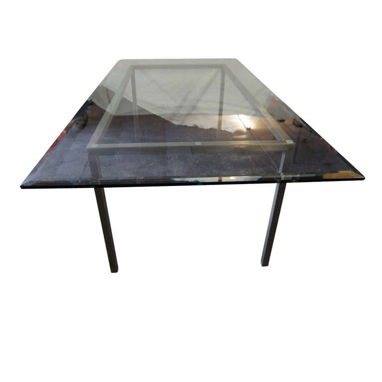 8 Ft Industrial Age Vintage Metal Glass Dining Table For Sale at