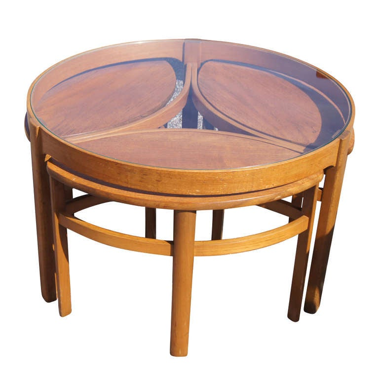 Vintage danish nesting coffee table set at 1stdibs for Small stackable coffee tables