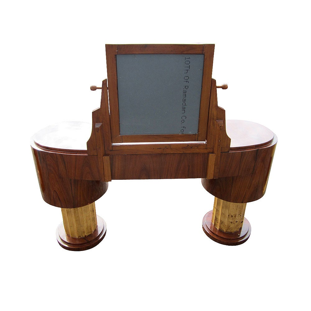 Art Deco Style Vanity W 5 Drawers And Adjustable Mirror