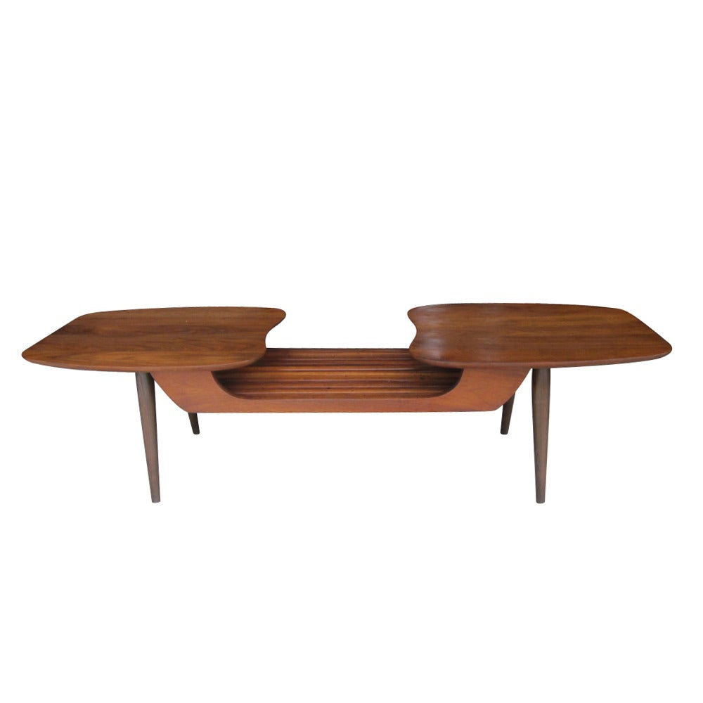 Vintage danish style walnut coffee table by ace high at - How high is a coffee table ...