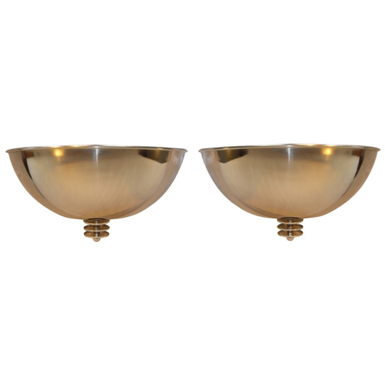 Pair of Large Art Deco Style Mid Century Chrome Sconces For Sale at 1stdibs