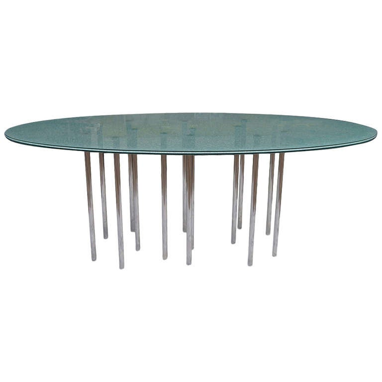 Mid century modern oval crackle glass dining table at 1stdibs for Mid century modern dining table