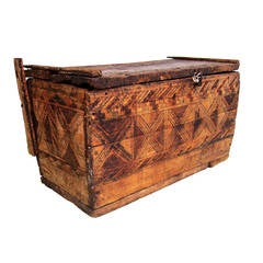 Vintage Rustic Solid Wood Moroccan Trunk Chest