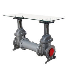 Industrial Cast Iron and Glass Water Valve Table