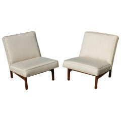 Pair Of Jens Risom Upholstered  Walnut Slipper Chairs