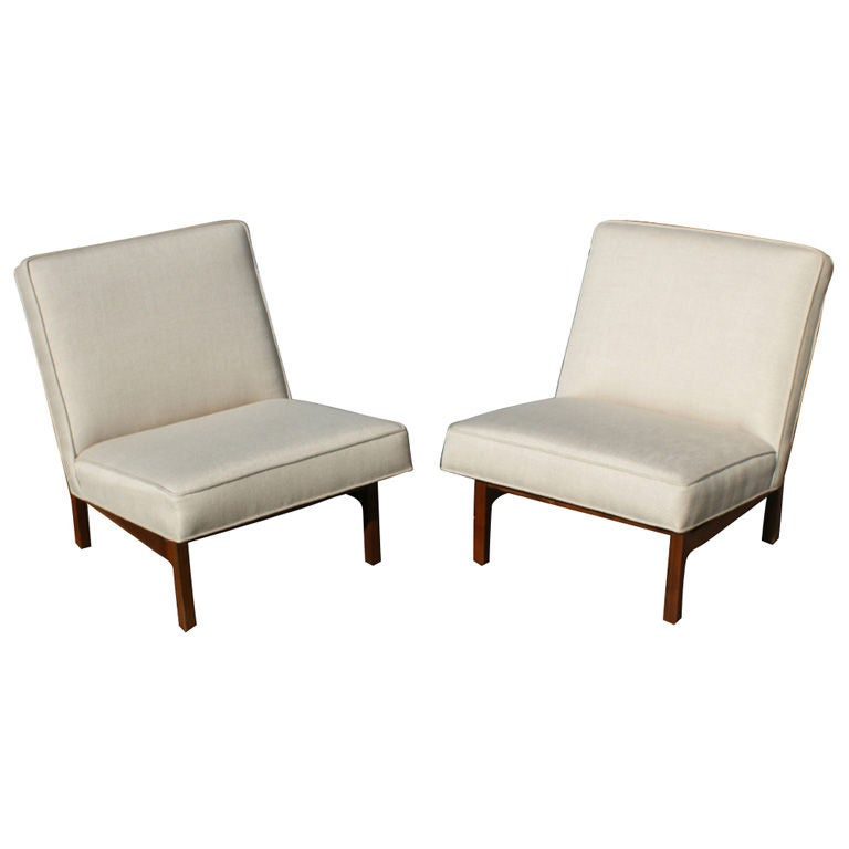 Pair Of Jens Risom Upholstered  Walnut Slipper Chairs