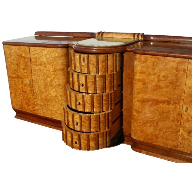 Art Deco Exotic Burl And Onyx Sideboard Buffet 3