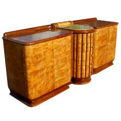 Art Deco Exotic Burl And Onyx Sideboard Buffet