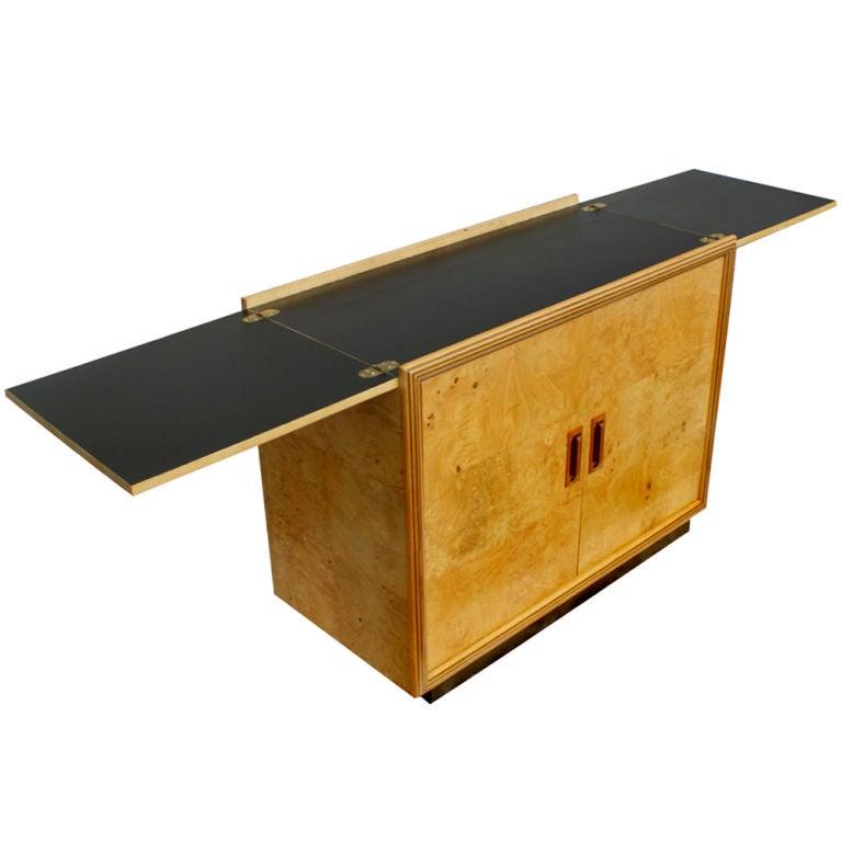 Henredon Scene Two Burled Bar Server Cabinet For Sale at 1stdibs