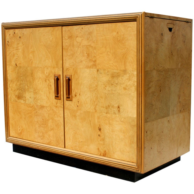 American Henredon Scene Two Burled Bar Server Cabinet For Sale