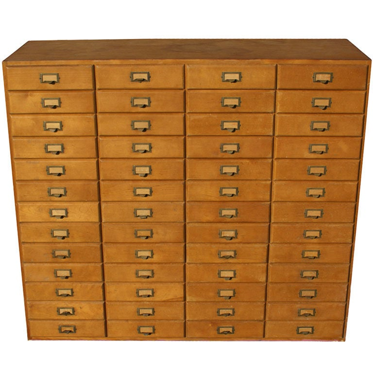 Vintage Fifty-Two Drawer Oak Mail Cabinet At 1stdibs