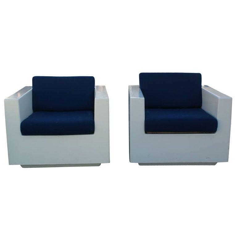Pair Of White Fiberglass Lounge Chairs