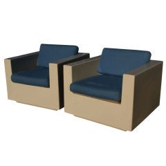 Pair of Beige Fiberglass Lounge Chairs