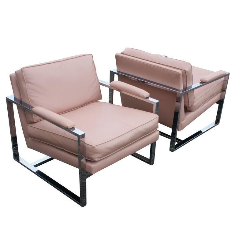 Pair Milo Baughman Chrome Lounge Chairs at 1stdibs