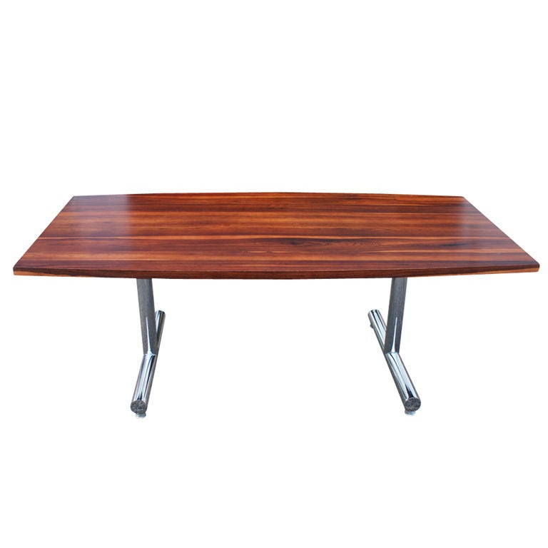 Rosewood And Chrome Dining Table Desk