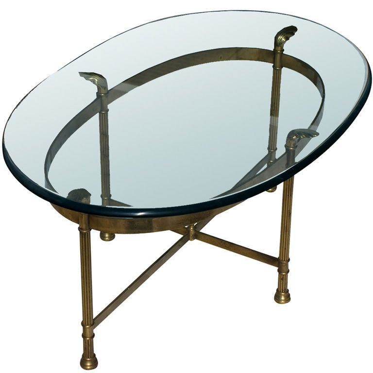 Neoclassical Oval Brass And Glass Coffee Side Table At 1stdibs