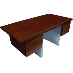Roger Sprunger Style Rosewood and Stainless Steel Desk