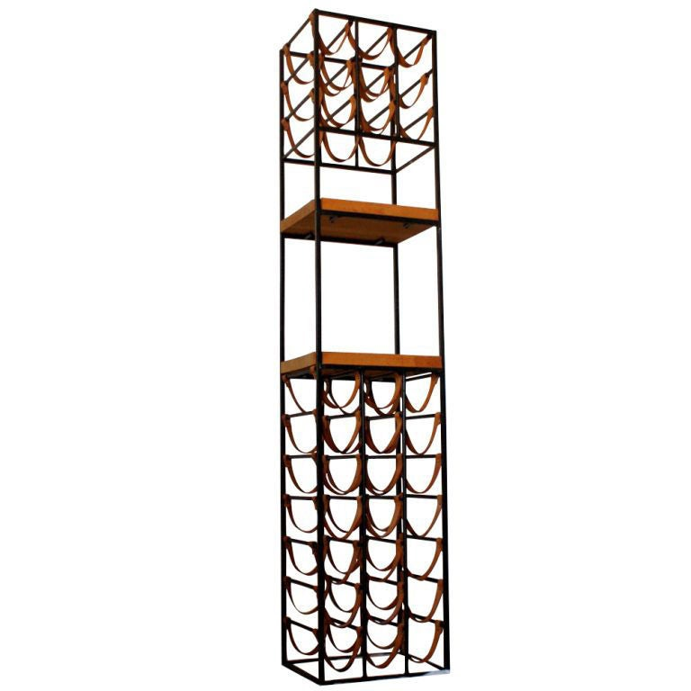 Arthur Umanoff Wrought Iron And Leather Wine Rack At 1stdibs