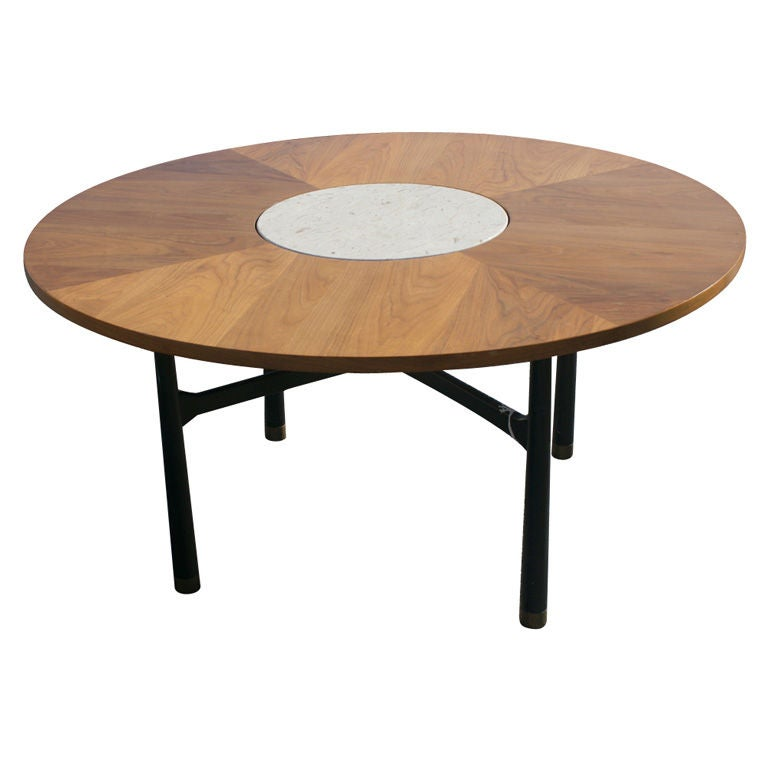 Harvey Probber Walnut And Travertine Marble Coffee Gaming Table At 1stdibs