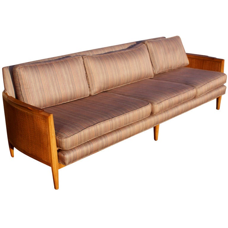 Modernist Wood And Cane Sofa At 1stdibs