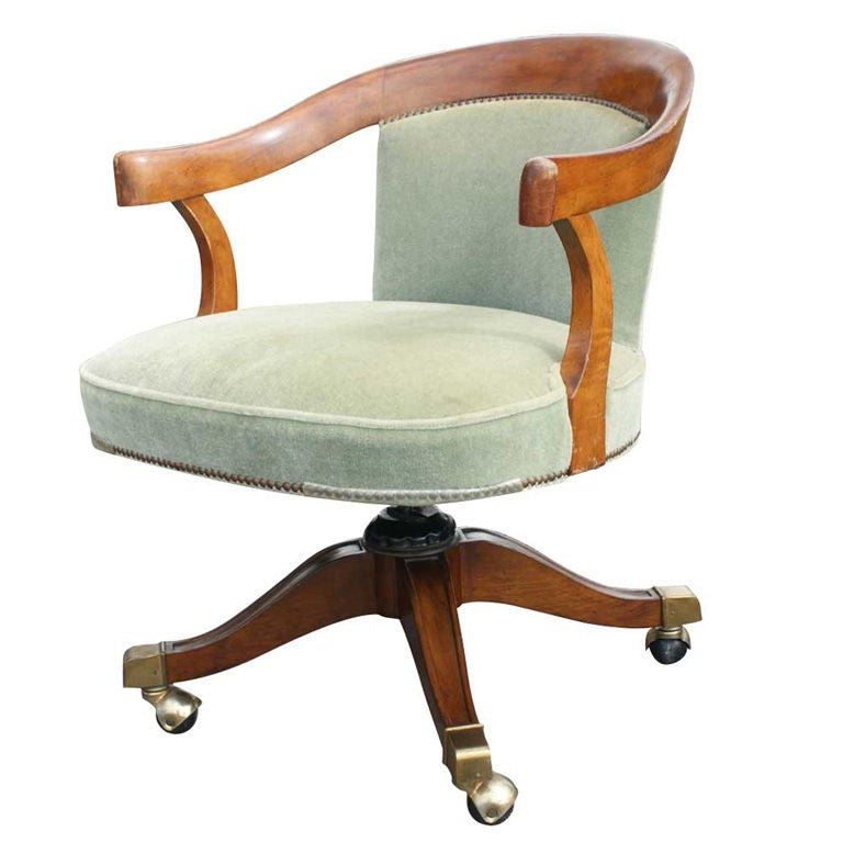 Baker Walnut And Velvet Task Chair At 1stdibs