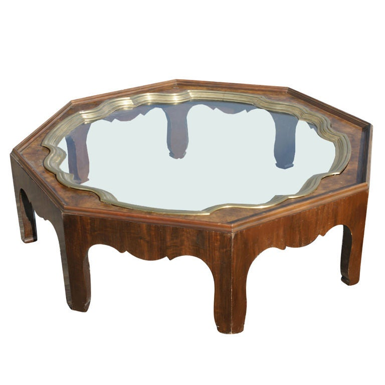 Octagonal Baker Brass Tray And Glass Coffee Table 1