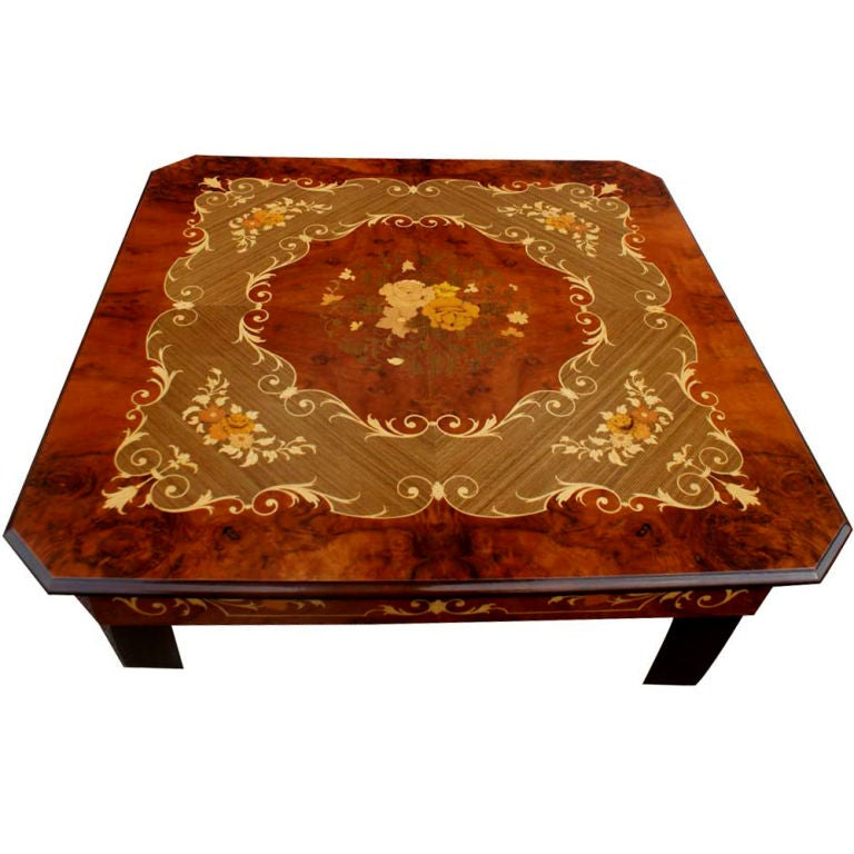 Italian Marquetry Games Table And Four Chairs 2