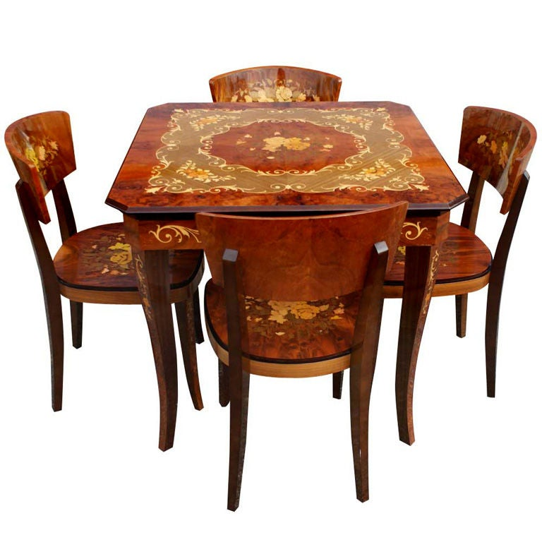 Italian Marquetry Games Table And Four Chairs 1