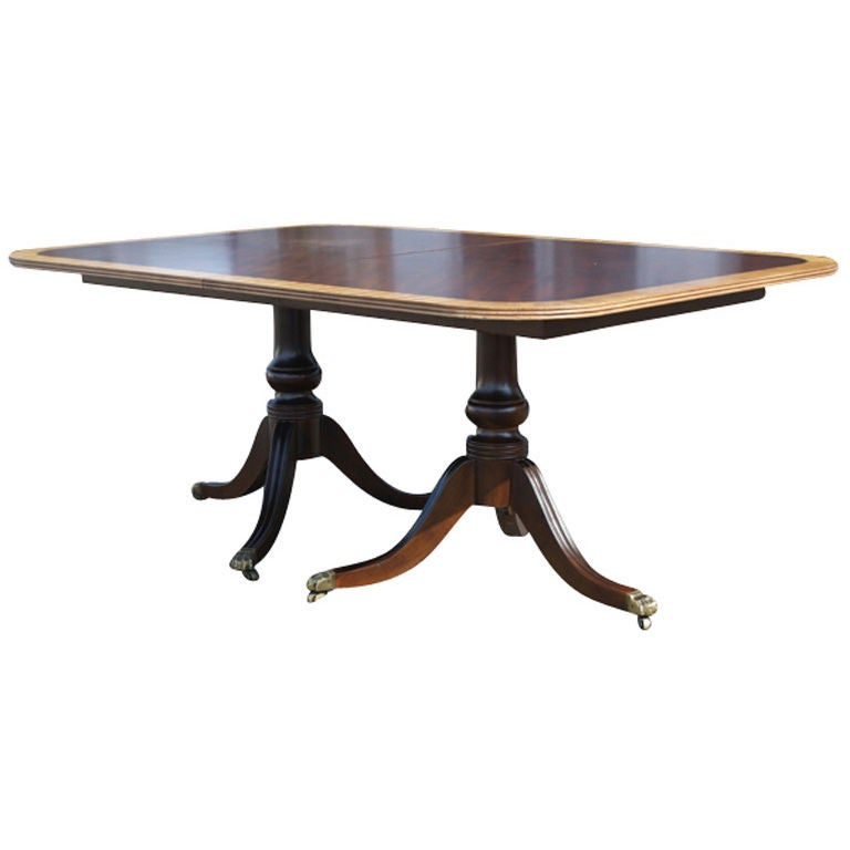 Henredon Walnut And Mahogany Desk Dining Table