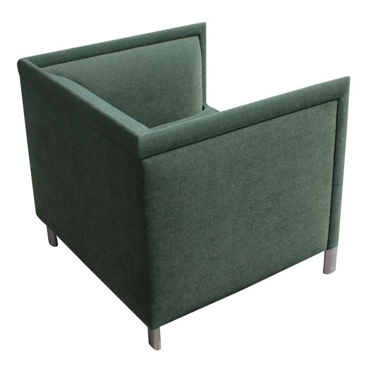 A pair of mid century modern lounge chairs designed by Gary Lee and made by Knoll.  Green boucle upholstery and aluminum legs.  Eco-friendly materials and construction.  As shown in the image we have several pairs of these available.  As shown in