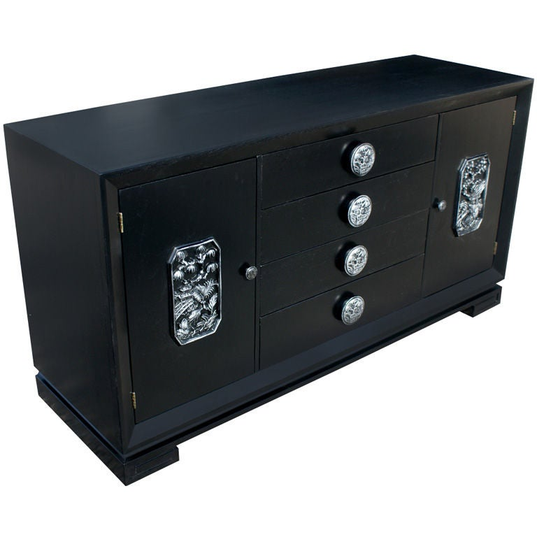 James Mont Ebonized And Silver Leaf Asian Motif Buffet Cabinet