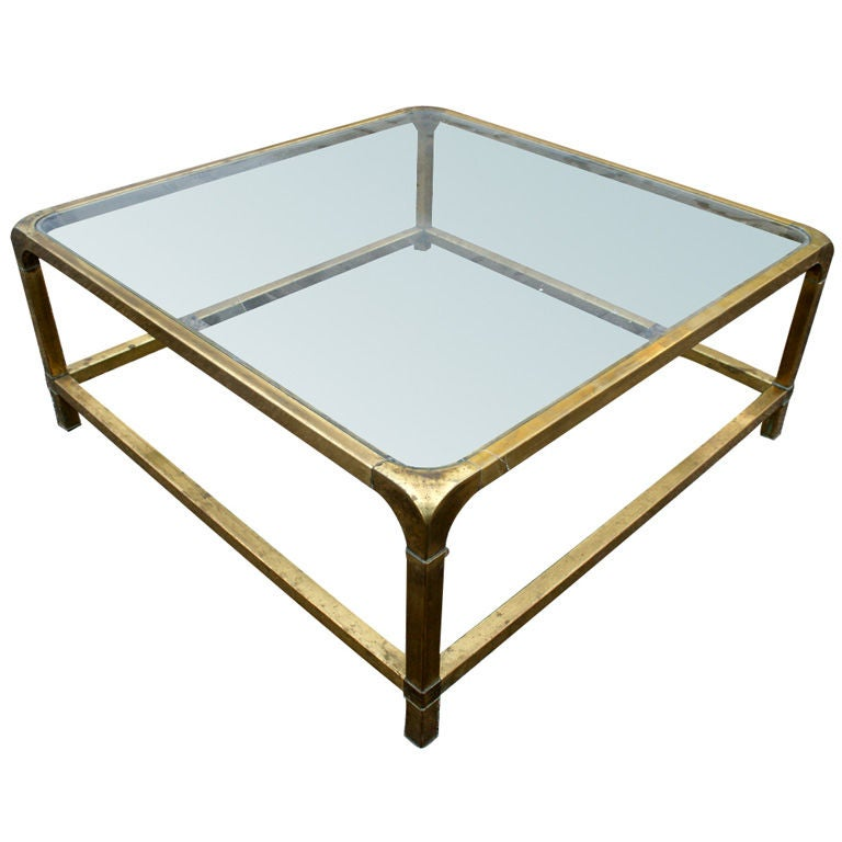 Large Mastercraft Rectangular Brass Coffee Table At 1stdibs