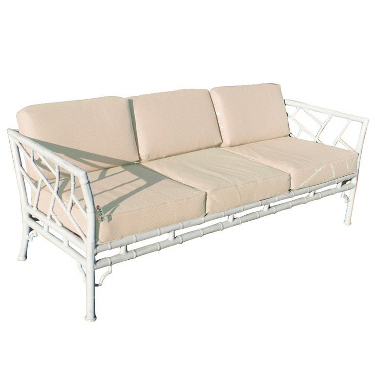 Faux bamboo metal indoor outdoor sofa at 1stdibs for Indoor outdoor sectional sofa