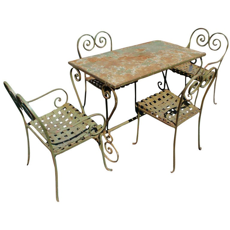 Vintage metal outdoor table and four chairs at 1stdibs for Metal garden table and chairs