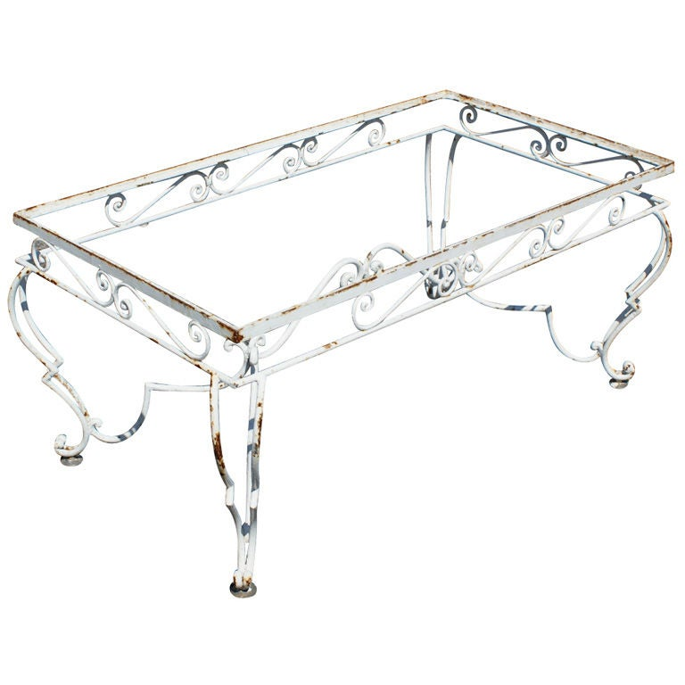 Vintage Wrought Iron Outdoor Coffee Table For