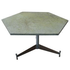 Salterini Hexagonal Green Slate Outdoor Table
