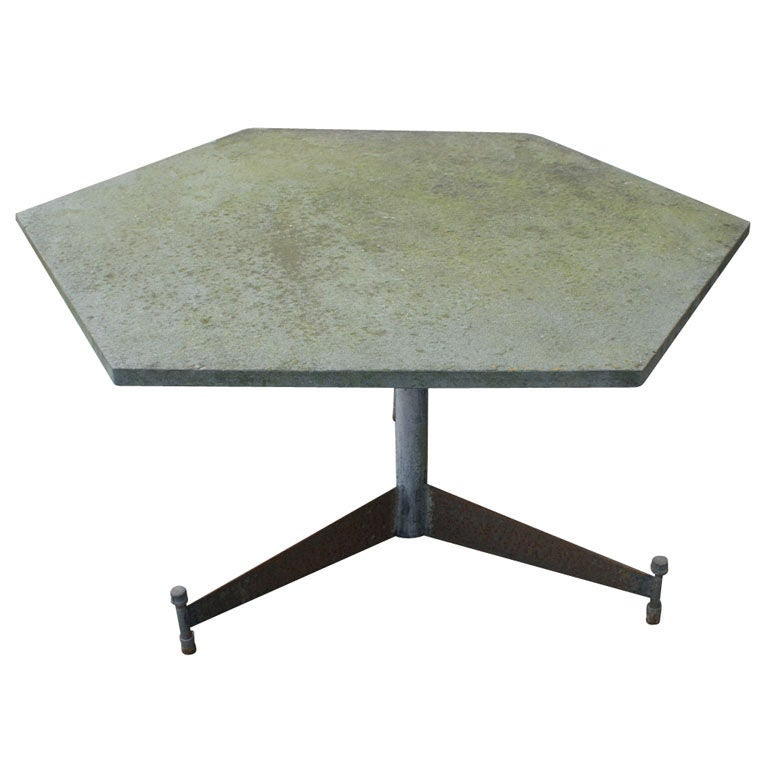 Salterini Hexagonal Green Slate Outdoor Table at 1stdibs