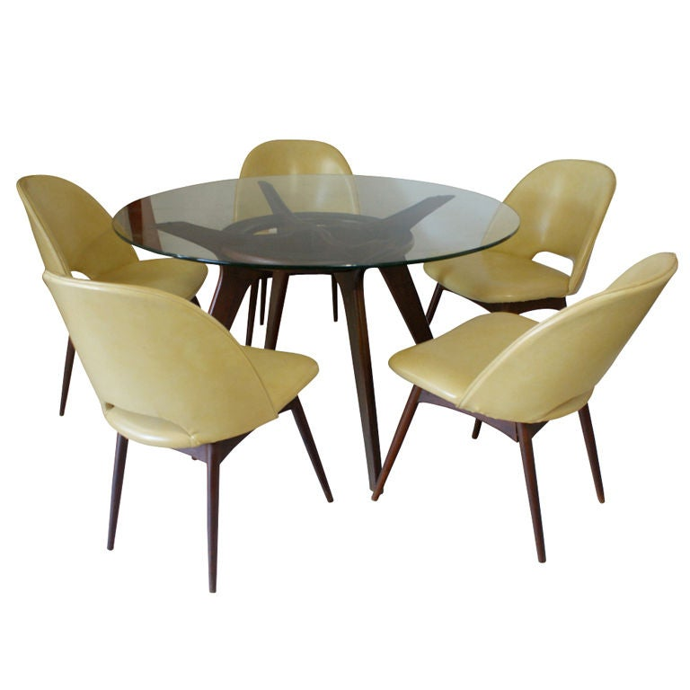 adrian pearsall walnut dining table and five chairs at 1stdibs