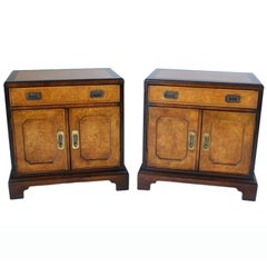 Pair Of Century Burled Asian Motif Nightstands