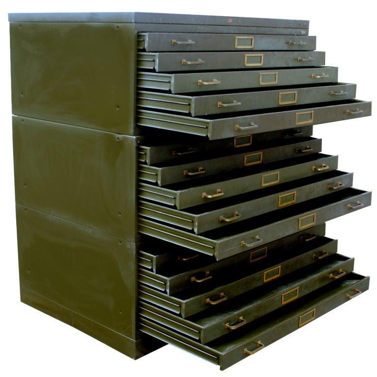 Large Vintage Steel Flat File Cabinet At 1stdibs