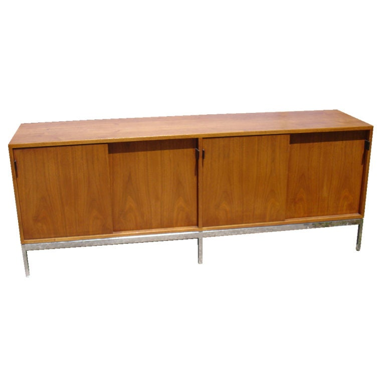florence knoll for knoll walnut and chrome buffet credenza. Black Bedroom Furniture Sets. Home Design Ideas