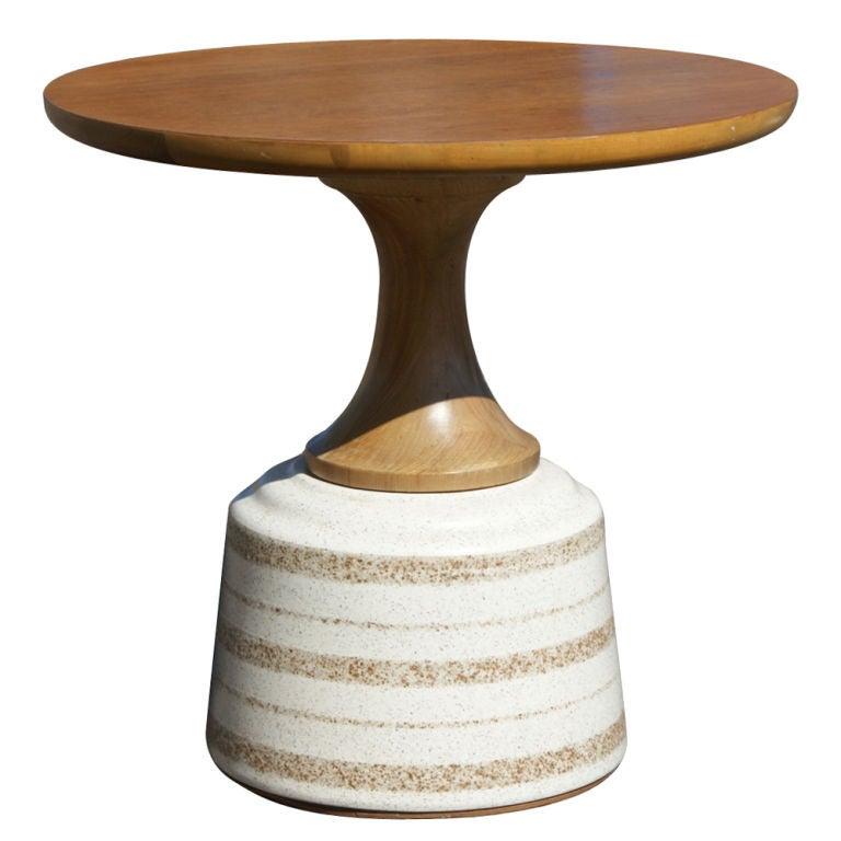 John Van Koert For Drexel Walnut And Ceramic Side Table At