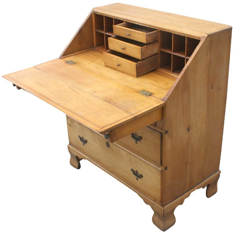 maple slant front colonial new england style desk for sale
