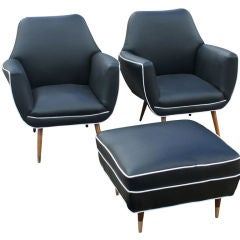 Pair Of Italian Lounge Chairs And One Ottoman