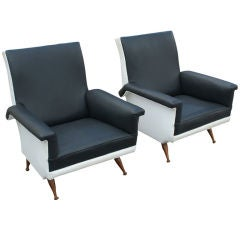 Pair Of Italian Black And White Lounge Chairs